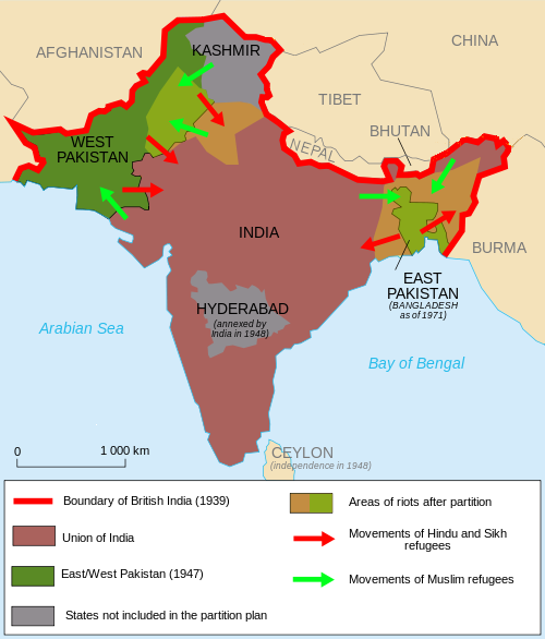 Map, Partition of India