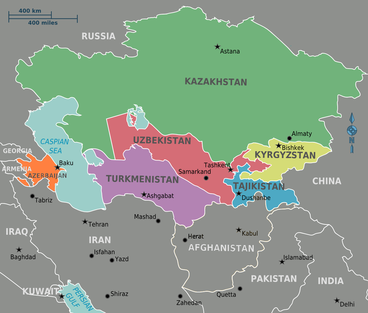Map of Central Asia (Political)
