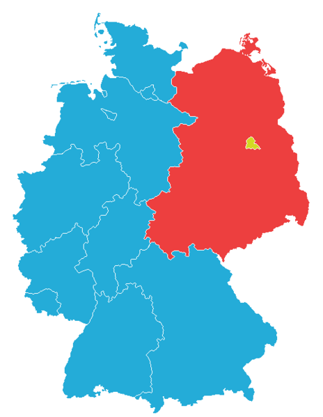 Map of Germany, 1957 borders